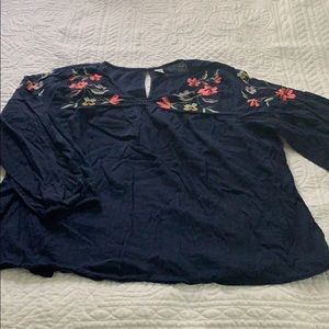 Navy and floral peasant top